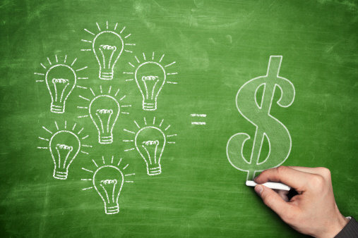 """Image of a chalk board drawing that illustrates """"Ideas Make Money"""""""